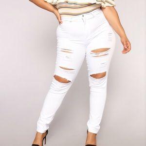 Fashion Nova high waist white jeans
